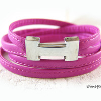 Wrap bracelet leather bracelet women pink stainless steel magnetic clasp silver -  choose your color women's bracelet leather