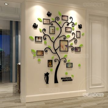 3D Acrylic crystal wall stickers living room bedroom cozy pictures tree stickers creative home decoration black xs