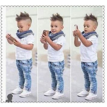 Casual Boys, Jean Set With T Shirt And Scarf. Sizes 24M To 7Y