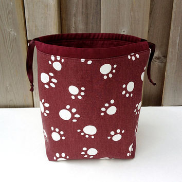 Knitting Organizer Knitting Tote Project Bag for two at a time knitting Socksack - Medium Size Maroon White Puppy Paw Print