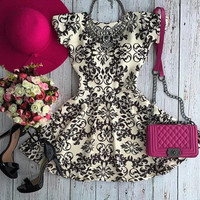 Casual Floral Printed Flounce Mini Dress