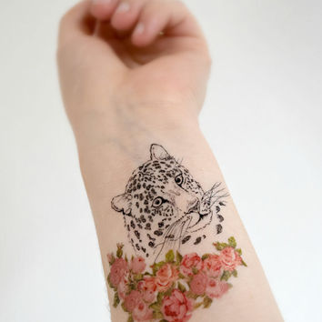 Cat in Flowers temporary tattoo - Ink, Rose, Floral, Cheetah, Cat lover, Colourful, Tattoo, Woodland, Accessories