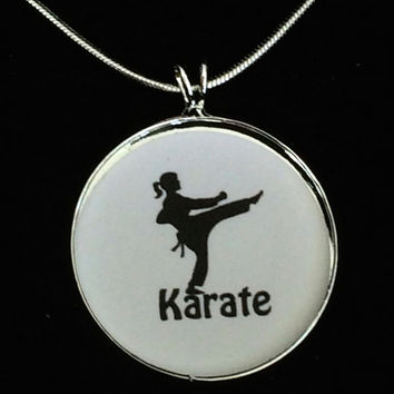 Karate Charm Necklace, Silhouette Pendant, Sports Charm, Karate Pendant ,Karate Necklace, Sports-gifts for her,sports gifts,black belt