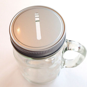 2 Mason Jar Bank Mugs- 16 Ounce Mason Drinking Jars with Coin Slot Cap and Handle