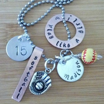 Personalized sports ( softball baseball football basketball hockey ) custom charm necklace - hand stamped