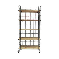 Caged Wood 5-Tiered Shelf