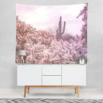 Pink Cactus Modern Chic Wall Tapestry - 4 Sizes