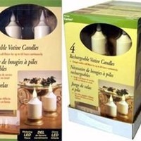 Votive Candles with Flicker, Rechargeable, 4-pack