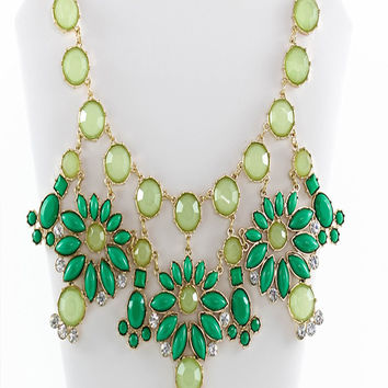 Green Sparkle Drop Statement Necklace & Earrings Set