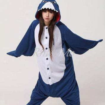 KIGURUMI Animal Pajamas Pyjamas Costume Onesuit Adult / Kid SLOTH-pink-shark animal Onesuit