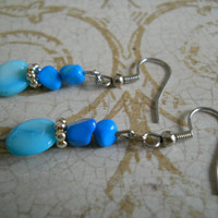 Aqua Mother of Pearl Shell Earrings Silver Ocean Sky Sea Caribbean Azure Blue Howlite Beaded Jewelry