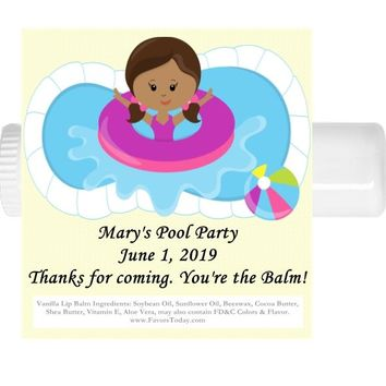 15 Pool Party Birthday Lip Balm Favors Dark Skin