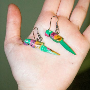 80s parrot tropical earrings, dangly jewelry party costume bird 1980s 90s 1990s retro vintage funny ironic, cute animals wooden spring 2014