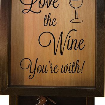 "Wooden Shadow Box Wine Cork Holder with Corkscrew 9""x15"" - Love The Wine You're With"