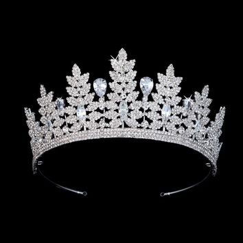 Cubic Zirconia Crystal Floral Bridal Tiaras Crown Wedding Hair Accessories Cosplay