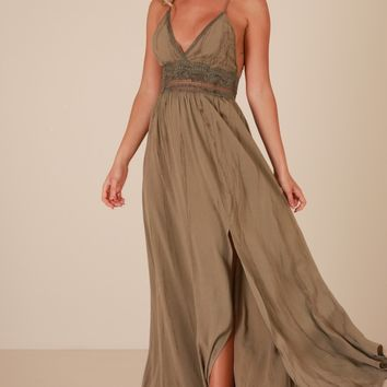 Marrakech maxi dress in khaki Produced By SHOWPO