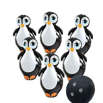 "Etna Giant Inflatable Penguin Bowling Set. Jumbo size, Six 27"" Pins and 57"" Ball circumference."