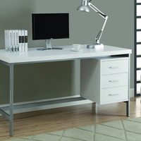 "White Hollow-Core/Silver Metal 60""L Office Desk"
