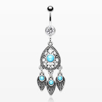 Antique Turquoise Teardrop Dreamcatcher Belly Button Ring