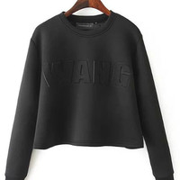 Black Wang Print Cropped Sweater