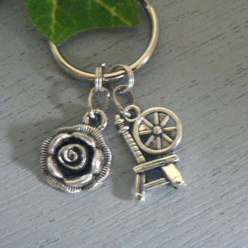 Once Upon A Time KeyChain Rumbelle Character Rumplestilskin and Belle Key Chain ABC Tv Show Inspired key Ring