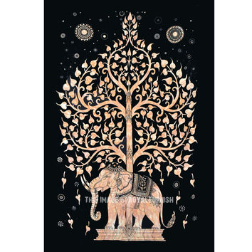Small Black Elephant Tree Tapestry, Wall Hanging Tie Dye Bedspread Bedding on RoyalFurnish.com