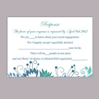 DIY Wedding RSVP Template Editable Word File Instant Download Rsvp Template Printable RSVP Cards Floral Blue Rsvp Card Elegant Rsvp Card
