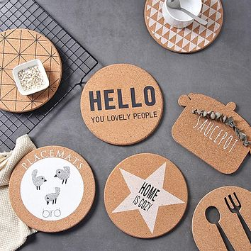 4pcs/Set Cork Wood Round Placemats