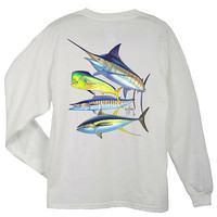 Guy Harvey Foursome Back-Print Long Sleeve Men's Tee in Black or White