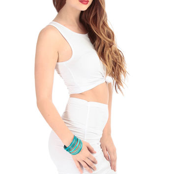 White Knotted Sleeveless Crop Top