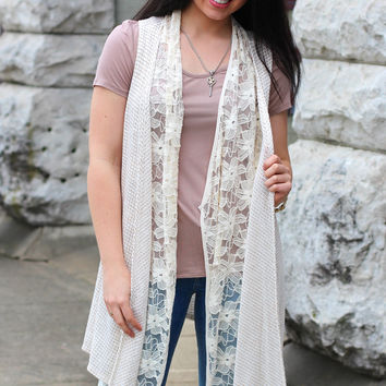 Layered in Lace Vest {Taupe}