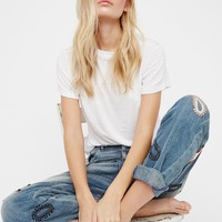 Free People L'Adorable Boyfriend Jeans with Leather Patches