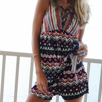 Hot Blooded Navy Printed 2 Piece Set