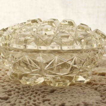 Vintage Glass Trinket Dish, 1930's Cut Glass Dish with Lid, Vanity Jar, Pressed Crystal Box, Daisy and Star, Glass Jewelry Box,