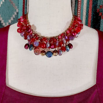 Vintage West Germany Beaded Necklace Red Frosted Pink Fuchsia Rainbow Iridescent Textured Lucite Faceted Beads on Gold Tone Chain Wow!