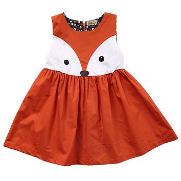1-5Y Summer Casual Cotton Baby Girls Toddler Kids Sleeveless Fox Dress Party Wedding Tutu Dresses
