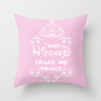 Just Hitched Found My Prince Throw Pillow by LookHUMAN