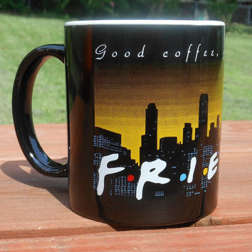 Vintage 1995 F.R.I.E.N.D.S Coffee Cup NBC Friends, New York Skyline Mug Twin Towers, Warner Bros Friends Central Perk Mug Friends Coffee Mug