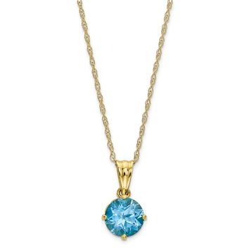 10K Tiara Collection Polished Diamond Sky Blue Topaz Necklace