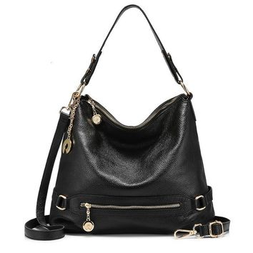 Leather Women Shoulder Bag Female Handbag Bucket Cow Leather Ladies Cross Body Bag Large Capacity