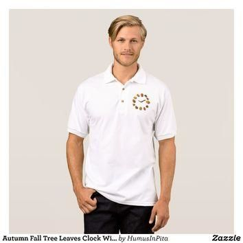 Autumn Fall Tree Leaves Clock With Branches Polo Shirt