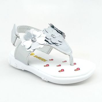 Baby Silver Floral Summer Sandal with Hook and Loop Strap
