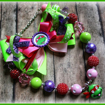 TURTLE NECKLACE, bow girl, baby, toddler set, bubblegum, chunky necklace, raphael, ninja turtle, headband, hairbow TMNT, gift