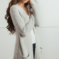 Sia Grey Eyelash Knit Cardigan