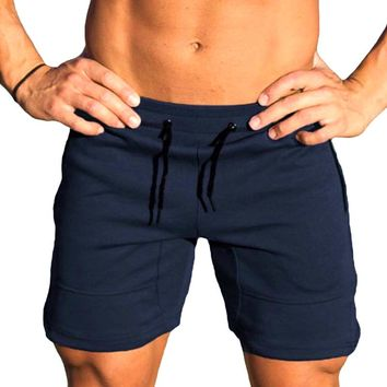 Solid Colors Men Training Shorts Gym Athletic Workout Sport Exercise Fitness Sweat Shorts