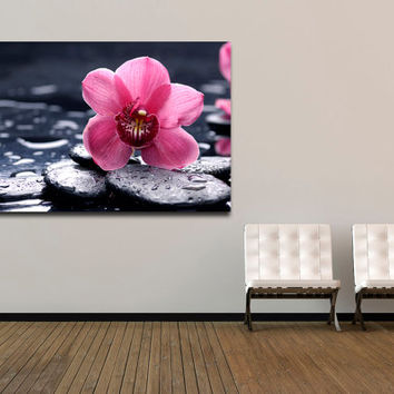 "Canvas Print Artwork Stretched Gallery Wrapped Wall Art Painting Flower Water Stones Large Size 26x41"" (can19)"