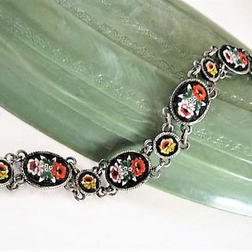Italy Mosaic Bracelet, 800 Silver, 5 Large Panels, Black Rose Floral, Signed PS