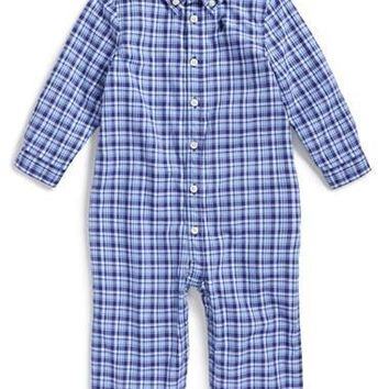 Infant Boy's Ralph Lauren Plaid Cotton Poplin Romper,