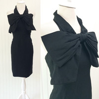 Trixie dress // 1960s black crepe HUGE bow halter neck minmalist sheath cocktail // corset interior backless // size XS