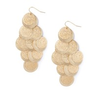 Brushed and Hammered Coin Waterfall Drop Earrings  | Icing